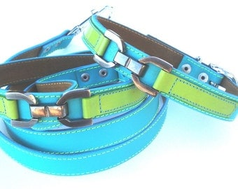 Cool Leather Dog Collar and Leash Set Turquoise and Lime