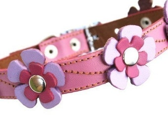 XXL Cool Leather Dog Collar - Flowers in Pink