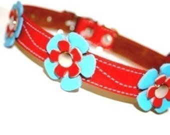 XXL Cool Leather Dog Collar - Flowers in Red