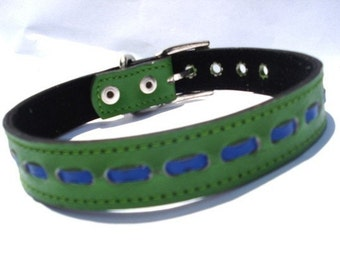 XXL Cool Leather Dog Collar Green and Blue