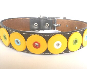 Leather Dog Collar in Black and Yellow size XXL