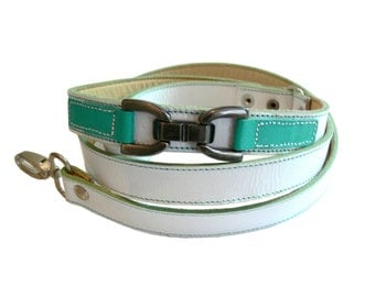 Cool Leather Dog Leash Lead White with Turquoise