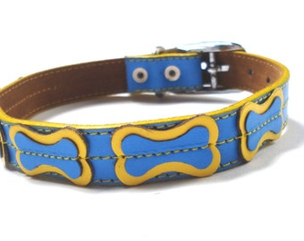 Cool Leather Dog Collar - Blue with Yellow Bones