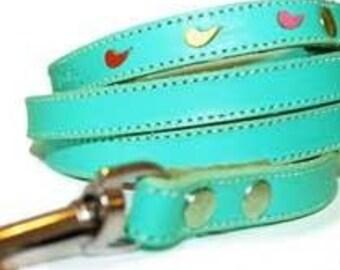 Tuff Love Leather Dog Leash - Turquoise