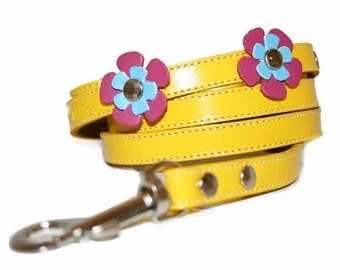 Cool Yellow Leather Dog Leash Lead