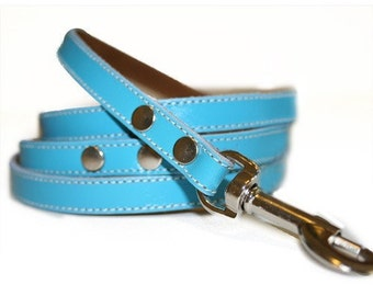 Sky Blue Leather Dog Leash