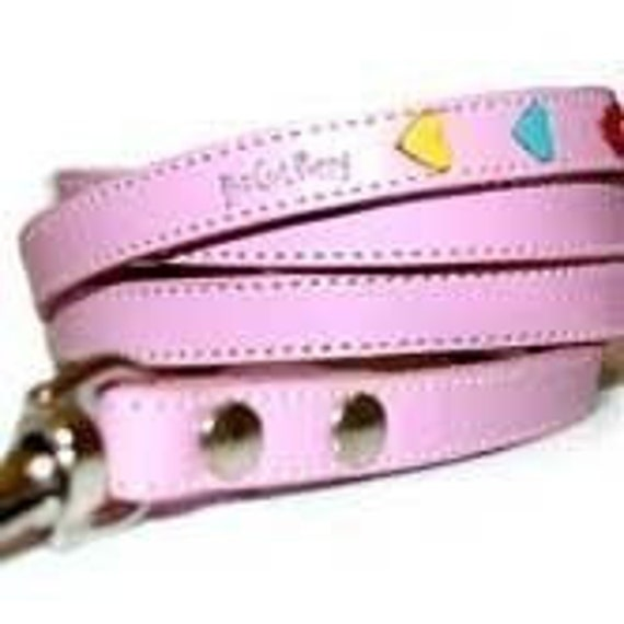 Tuff Love Leather Dog Leash with Hearts  - Pink
