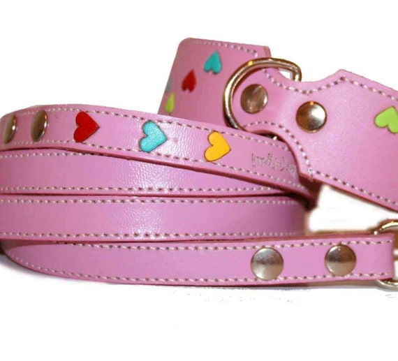 Tuff Love Leather Dog Collar and Leash Set  with  Hearts - Pink