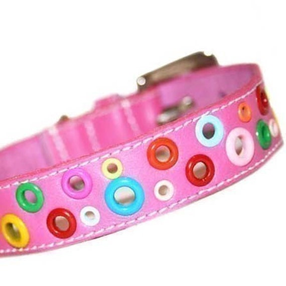 Loki Puppy Leather Dog Collar - Punk Pink