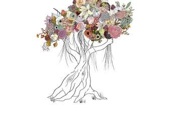 Enchanted Tree, flowers. 8x10 print