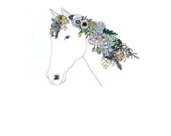 Horse, Flowers. 8x10 print.