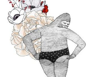 Bigfoot, flowers and panties, 5x7 print