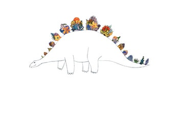 Dino, flowers. 8x10 print