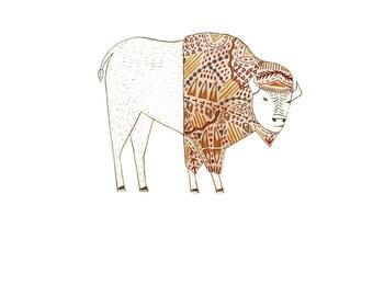 Bison, pattern 8x10 print.