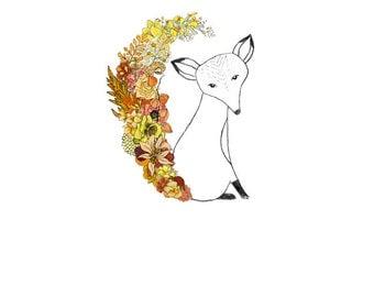 Fox, flowers. 8x10 print