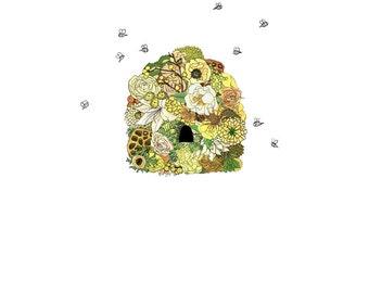 Beehive, flowers. 8x10 print