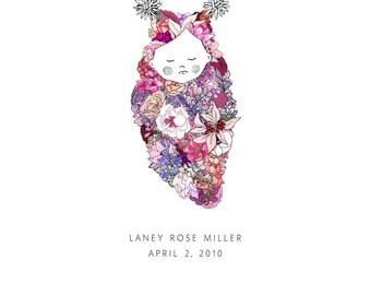 Baby, flowers. Custom 8x10 print