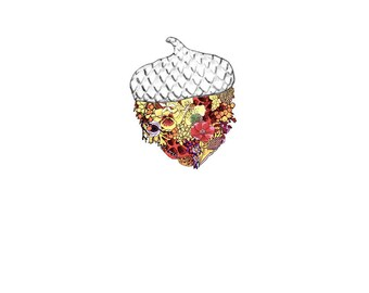Acorn, flowers. 8x10 print
