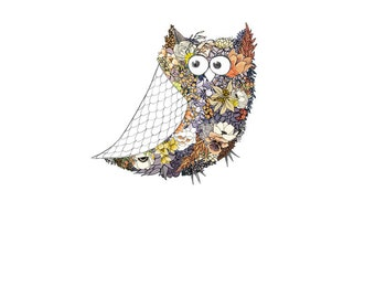 Owl, flowers. 8x10 print