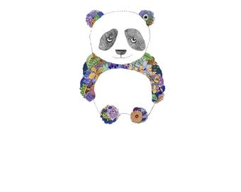Panda, flowers. 8x10 print