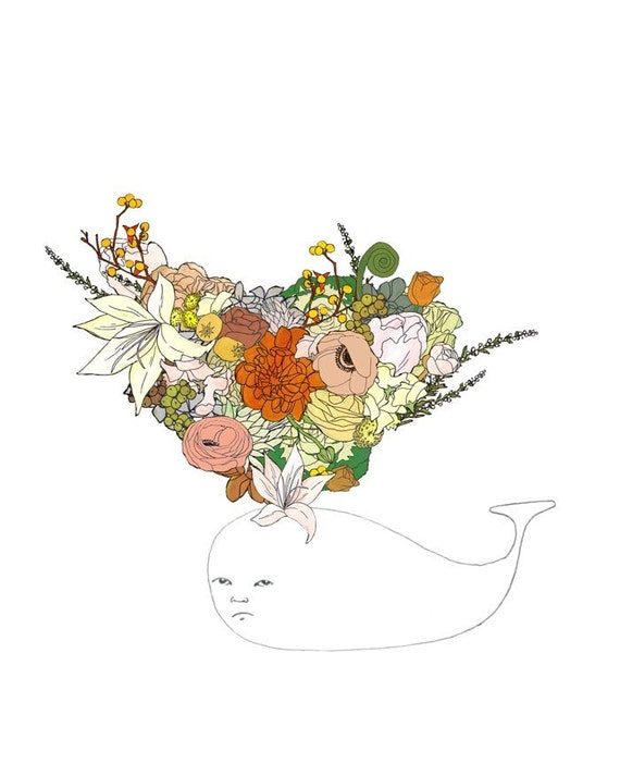 Whale, flowers. 8x10 print