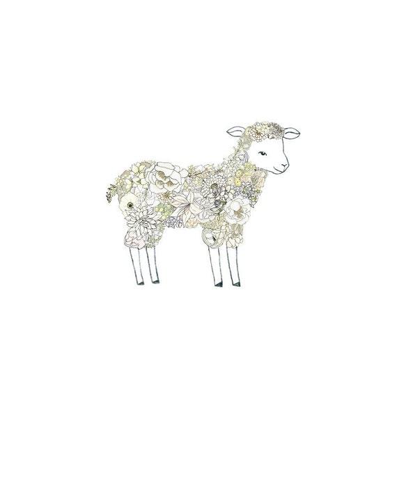 Lamb, flowers. 8x10 print