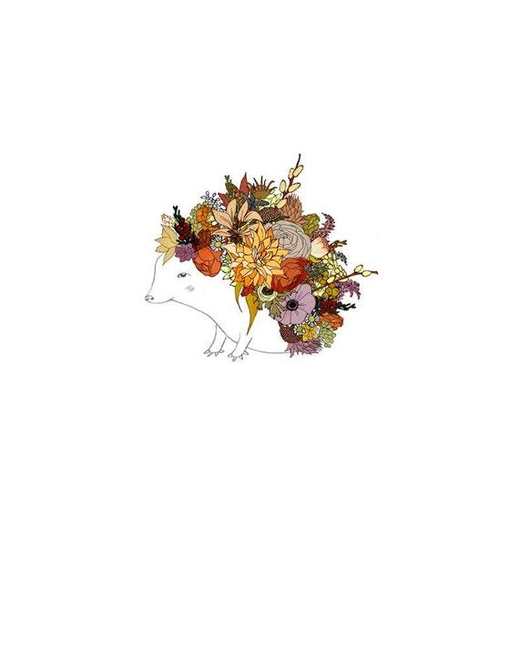 Autumnal Hedgehog, Flowers. limited edition 8x10 print.