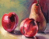 """Original Oil Painting on Canvas 8 x 10"""" of Pear Nectarines Fruit"""