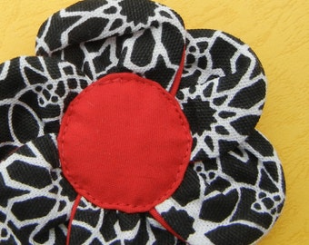 FUN FABRIC FLOWER..... Black & Red Fabric Flower Pin.......