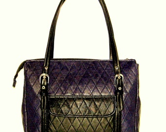 Quilted Deep Purple and Black Genuine Lambskin Purse