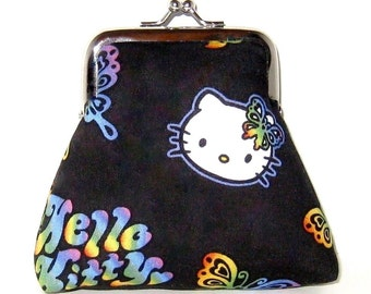Black Hello Kitty Fabric With Metal Frame Coin Purse
