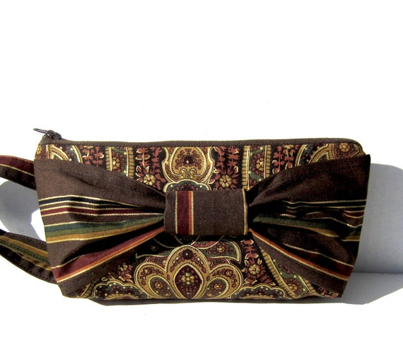 Brown and Gold Big Bow Wristlet - Clutch