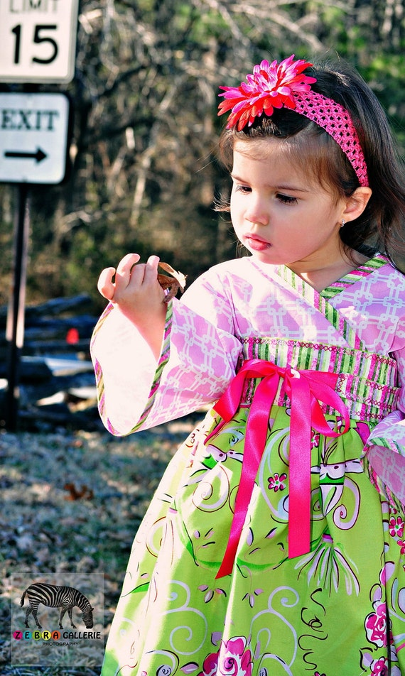 Sweetest Little Girls Kimono Dress custom made in sizes 2 toddler through 7 by Pink Mouse