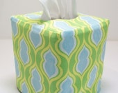 Tissue Box Cover - Green Leaf Reversible