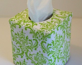 White Chartreuse reversible tissue box cover