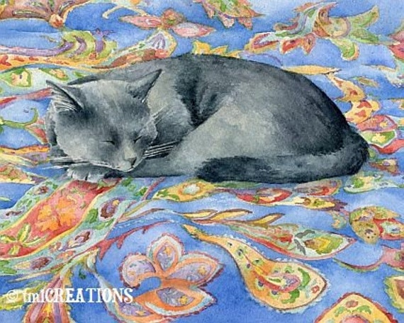 Cat Nap - 8x10 archival watercolor print by Tracy Lizotte