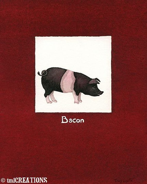 Bacon - 5x7 archival watercolor print by Tracy Lizotte
