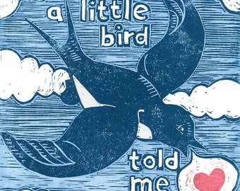 A Little Bird Told Me block print