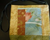 coupon code 25pct - Lg 11x11h Flat Padded Sling Bag with Gilded Blossoms, Kanji and gingko leaves