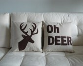 OH DEER and Deer Head Silhouette PAIR of pillows / cushions -- 14in (36cm) sq