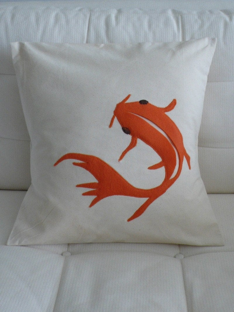 Appliqued koi fish pillow cushion cover 16in x 16in for Koi fish pillow