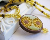 Golden Yellow Sunflower Polymer Clay Necklace