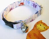 Fabric Breakaway Cat Collar in Adjustable Sizes, Safety Style, Soft and Comfortable, Purple Red White Stripe with Flowers