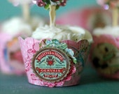 12- SHABBY CHIC FRENCH Inspired cupcake Wrappers