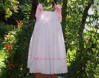 Flower girl  white eyelet dress..fully lined .....Last dress available  in sizes 1 thru 10