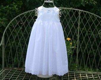 Handmade Flower Girl Baptism Communion lined white dress....Available in sizes Newborn.to 3 mon.... 6 mon ...1T..2T..3T..4T,