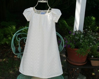 Handmade Baptism/Flower Girl lined Dress   .Available in ivory. lined  embroidered .fabric  Sizes .7..and 8