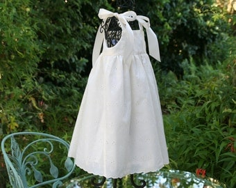 Handmade Flower girl Ivory eyelet dress with Ivory satin ribbon shoulder ties.  Sizes 1.2.3..4..5..6..7..8 and 10
