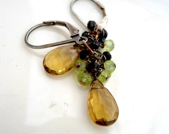Champagne Citrine Earrings with Peridot, Black Onyx and Oxidized Sterling Silver. Simple Earrings, Silver Earrings, citrine earrings