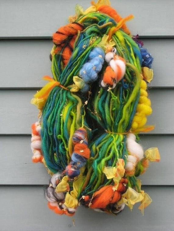 handspun art yarn koi pond by fiber artist gerry from